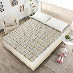 钻石绒软垫 1.2m(4英尺)床 驼色方格