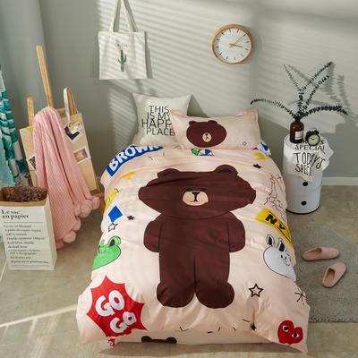 2018新款全棉大版卡通三件套 1.2m(4英尺)床 布朗熊