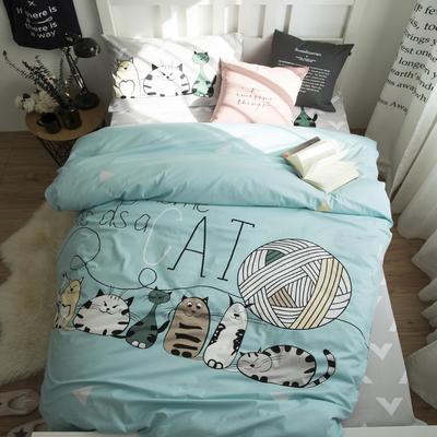 2018新款全棉大版卡通三件套 1.2m(4英尺)床 猫家族