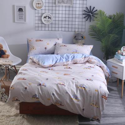 2018新款60长绒棉三件套 1.5m(5英尺)床 汽车小熊
