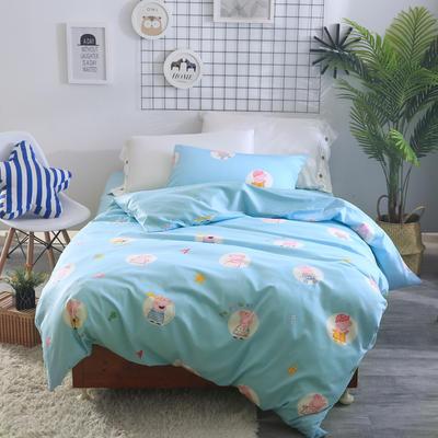 2018新款60长绒棉三件套 1.5m(5英尺)床 佩琪蓝