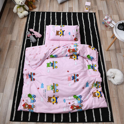 2018新款全棉幼兒園平價三件套 適合各規格幼兒園床 快樂小熊-粉(三件套)