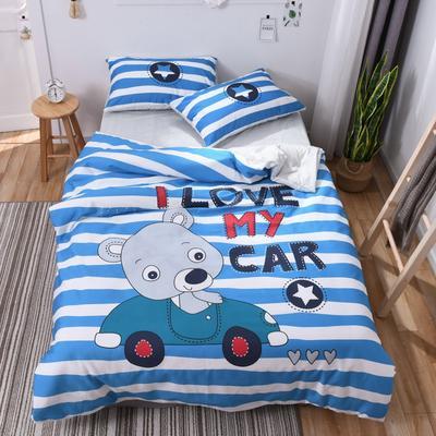 2018新款60s长绒棉大版卡通三件套 1.2m(4英尺)床 熊开心