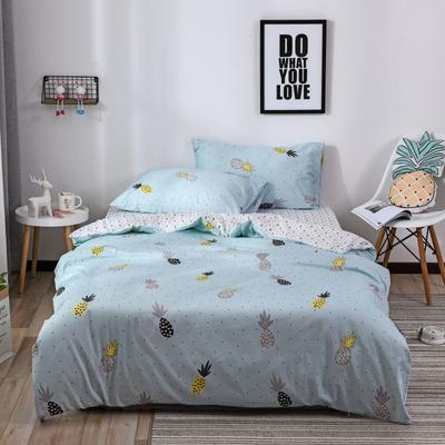 2018新款60s长绒棉三件套 1.2m(4英尺)床 菠萝蜜.蓝