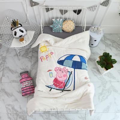 2018新款高密纱大版卡通有机棉花被 120*150cm/2斤 度假佩奇