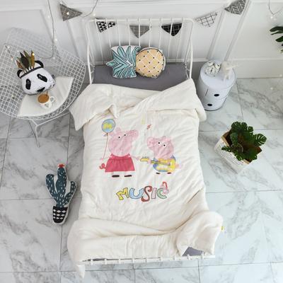 2018新款高密纱大版卡通有机棉花被 120*150cm/2斤 音乐佩奇