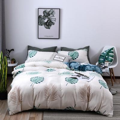 2018新款蓄能绒保暖四件套 1.8m(6英尺)床 龟背叶