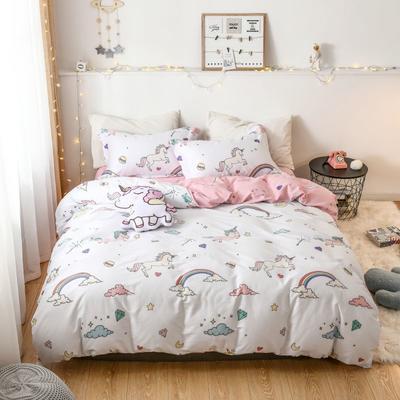 2019新款全棉卡通四件套 1.2m三件套床单款 彩虹小马