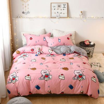 2019新款全棉卡通四件套 1.2m三件套床单款 馋嘴猪