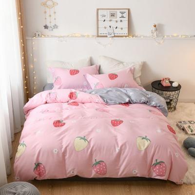 2019新款全棉卡通四件套 1.2m三件套床单款 甜心草莓-粉