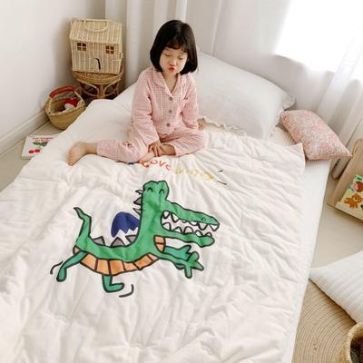 2019新款新品幼兒園兒童高密紗大版卡通有機棉花被 120x150cm/2斤 開心鱷魚