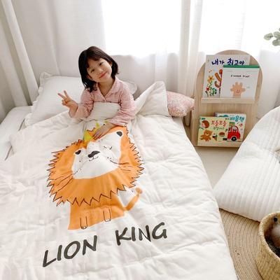 2019新款新品幼兒園兒童高密紗大版卡通有機棉花被 120x150cm/2斤 可愛獅子
