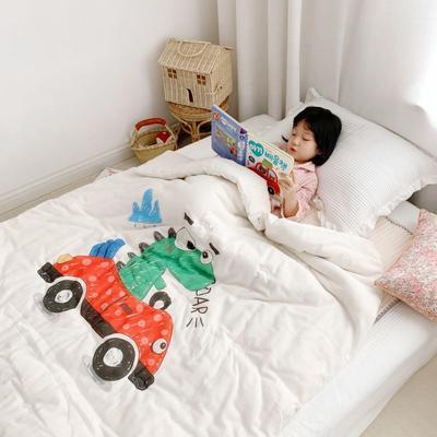 2019新款新品幼儿园儿童高密纱大版卡通有机棉花被 120x150cm/2斤 小汽车