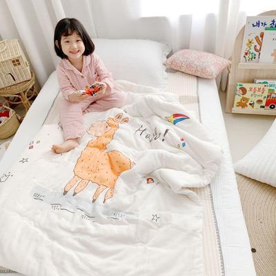 2019新款新品幼兒園兒童高密紗大版卡通有機棉花被 120x150cm/2斤 羊駝