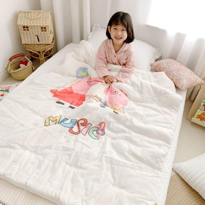 2019新款新品幼兒園兒童高密紗大版卡通有機棉花被 120x150cm/2斤 音樂佩奇