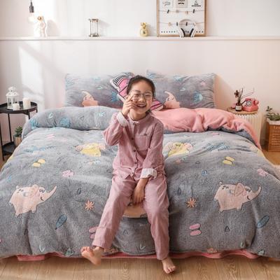 2019新款雪花绒ins小清新卡通可爱系列四件套 1.2m床单款三件套 象宝宝