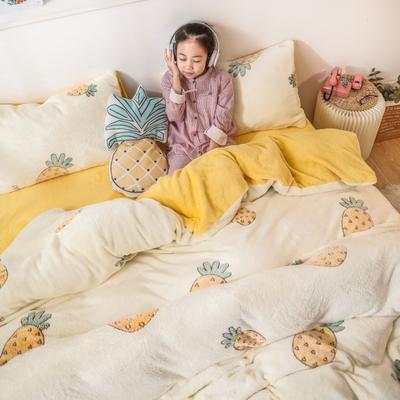 2019新款雪花絨ins小清新卡通可愛系列四件套 1.2m床單款三件套 小菠蘿