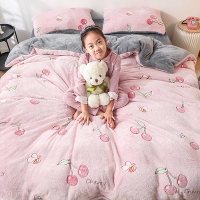 2019新款雪花绒ins小清新卡通可爱系列四件套 1.2m床单款三件套 樱桃丸子