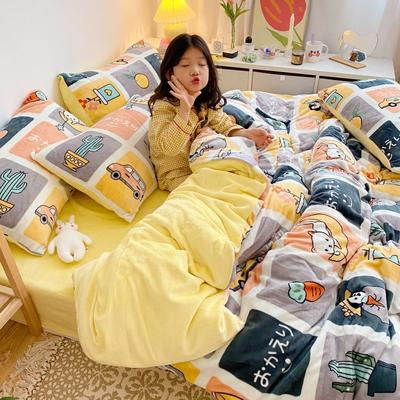 2020新款牛奶丝精棉绒系列四件套 1.5m床单款四件套 美好时光