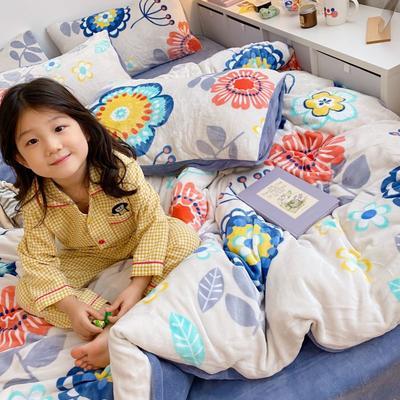 2020新款牛奶丝精棉绒系列四件套 1.2m床单款三件套 蔷薇