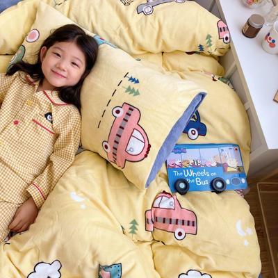 2020新款牛奶丝精棉绒系列四件套 1.2m床单款三件套 小汽车
