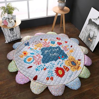 ins北欧宜家风棉质花瓣地垫 直径1.5m中间2~3公分整体1.8m 快乐小鸟