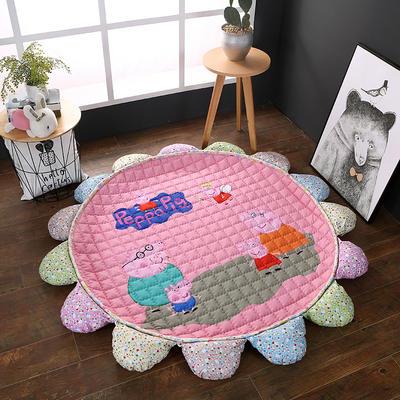 ins北欧宜家风棉质花瓣地垫 直径1.5m中间2~3公分整体1.8m 佩琪一家