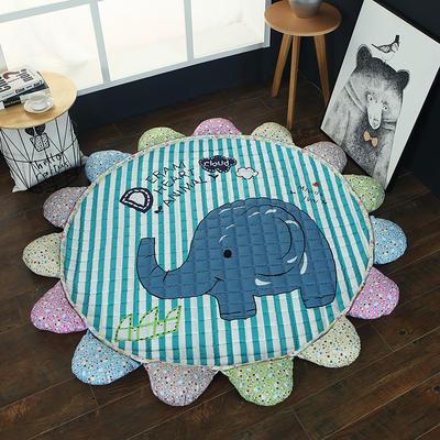 ins北欧宜家风棉质花瓣地垫 直径1.5m中间2~3公分整体1.8m 小象