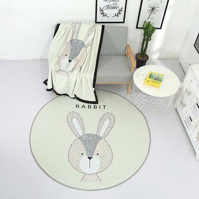 北欧风圆形地垫 直径37cm 兔子