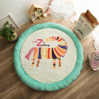 圆形半脱卸款宝宝绒防护地垫 直径150 斑马斑马