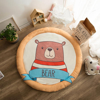圆形半脱卸款宝宝绒防护地垫 直径150 小熊