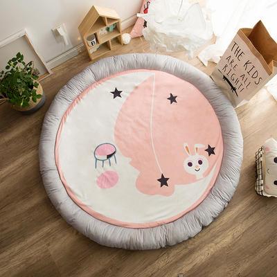 圆形半脱卸款宝宝绒防护地垫 直径150 月亮兔