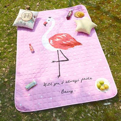 小号长方形防水野餐垫 140x200cm 粉色火烈鸟