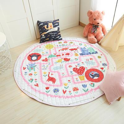 2019-新款圆形收纳垫 直径150 粉色迷宫