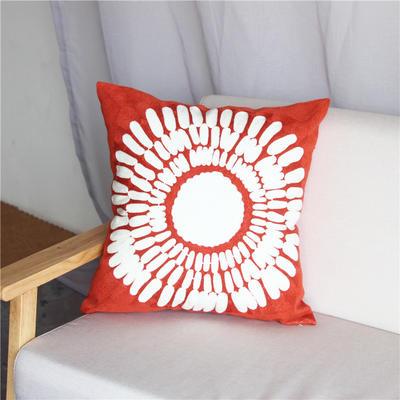 2018新品满绣圆圈羽毛抱枕 45x45cm(无纺布芯子) 圆圈羽毛 珊瑚红