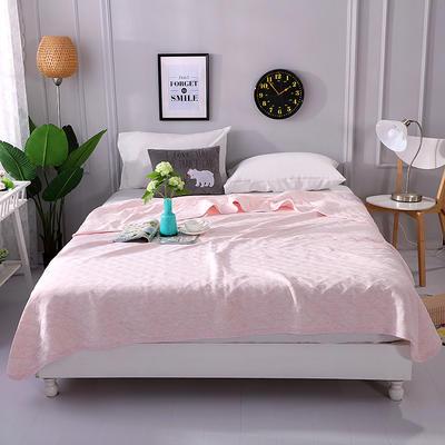 2018新品全棉色纺针织夏被 天竺棉彩棉空调被 100x150cm 纯粉色