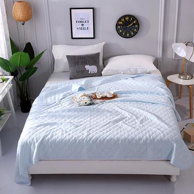 2018新品全棉色纺针织夏被 天竺棉彩棉空调被 200X230cm 纯蓝色