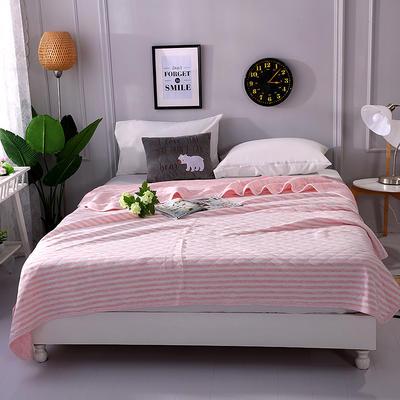 2018新品全棉色纺针织夏被 天竺棉彩棉空调被 100x150cm 条纹粉