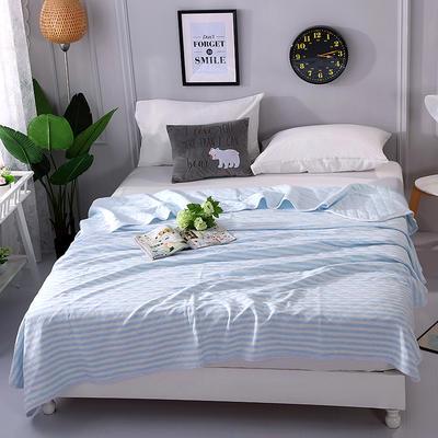 2018新品全棉色纺针织夏被 天竺棉彩棉空调被 200X230cm 条纹蓝