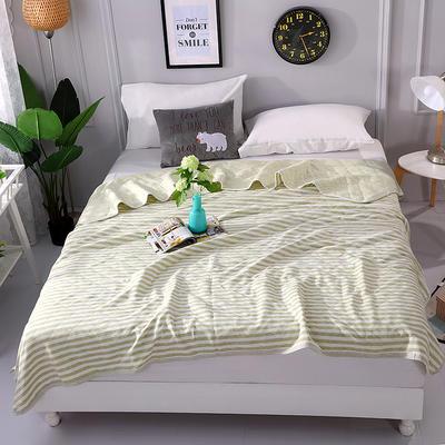 2018新品全棉色纺针织夏被 天竺棉彩棉空调被 200X230cm 条纹绿
