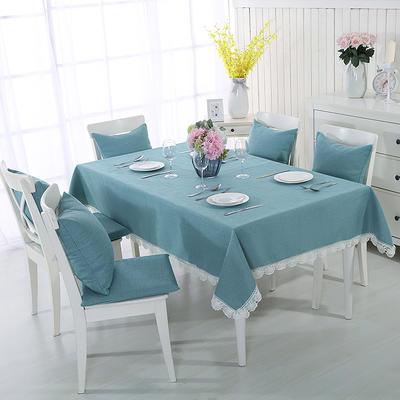 2018新品纯色棉麻桌布花边款-纯色桌布抱枕 100*140cm 北欧蓝