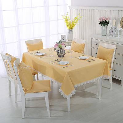 2018新品纯色棉麻桌布花边款-纯色桌布抱枕 140*200cm 亮黄色