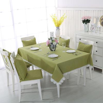 2018新品纯色棉麻桌布花边款-纯色桌布抱枕 100*140cm 抹茶绿