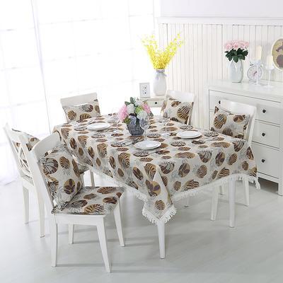 2018新品纯色棉麻桌布花边款-印花桌布抱枕 140*200cm 黄色叶子