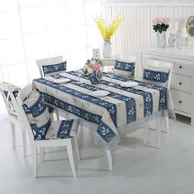 2018新品纯色棉麻桌布花边款-印花桌布抱枕 140*200cm 蓝色条纹