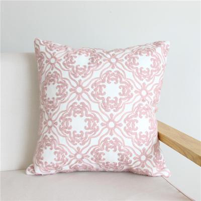 2018新品新增粉色全棉帆布毛巾半绣抱枕(抱枕可拆洗) 45X45cm(单套子) 粉 窗花
