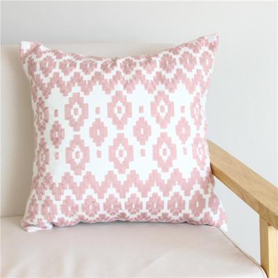 2018新品新增粉色全棉帆布毛巾半绣抱枕(抱枕可拆洗) 45X45cm(单套子) 粉 花海