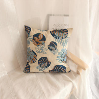 2018新品桌布同款印花抱枕 45x45cm(单套子) 叶子 蓝
