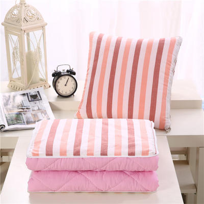 简约水洗棉抱枕被 40X40cm 粉白条