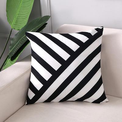 2018新款拼色黑白双面绒布印花抱枕 45x45cm单套子 黑几何条纹